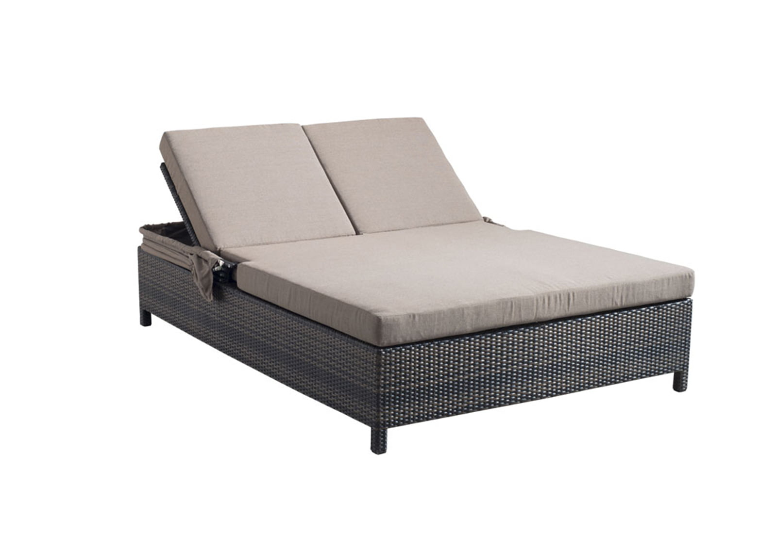 Siesta key double chaise lounge espresso furnishplus for Chaise coffre