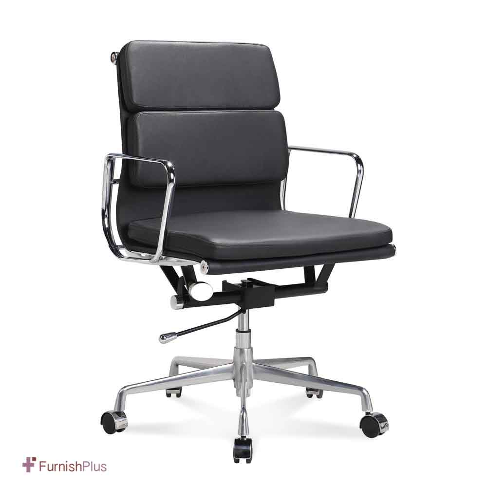 Eames management soft pad chair replica aniline leather for Eames replica