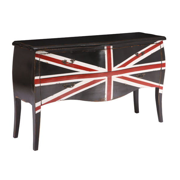 Union Jack Large Cabinet Distressed Black Furnishplus