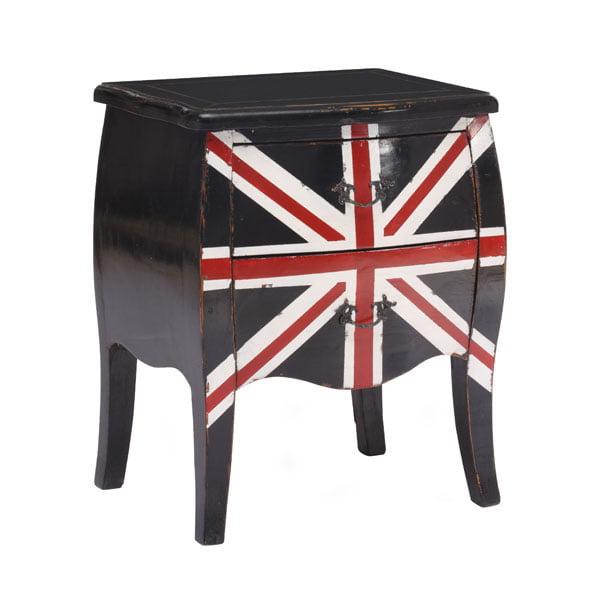 Union Jack Small Cabinet Distressed Black Furnishplus