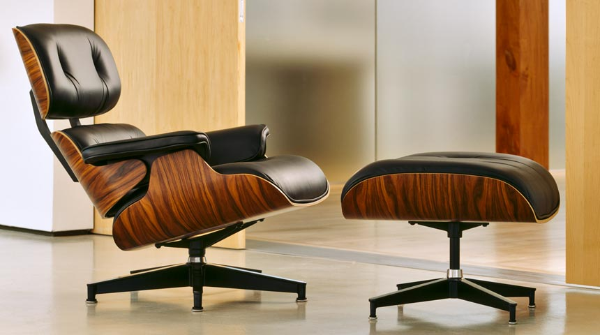 Eames Lounge Chair Replica Black Leather Rosewood Finish