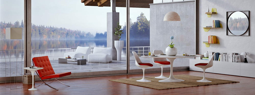 barcelona-chair-and-tulip-table