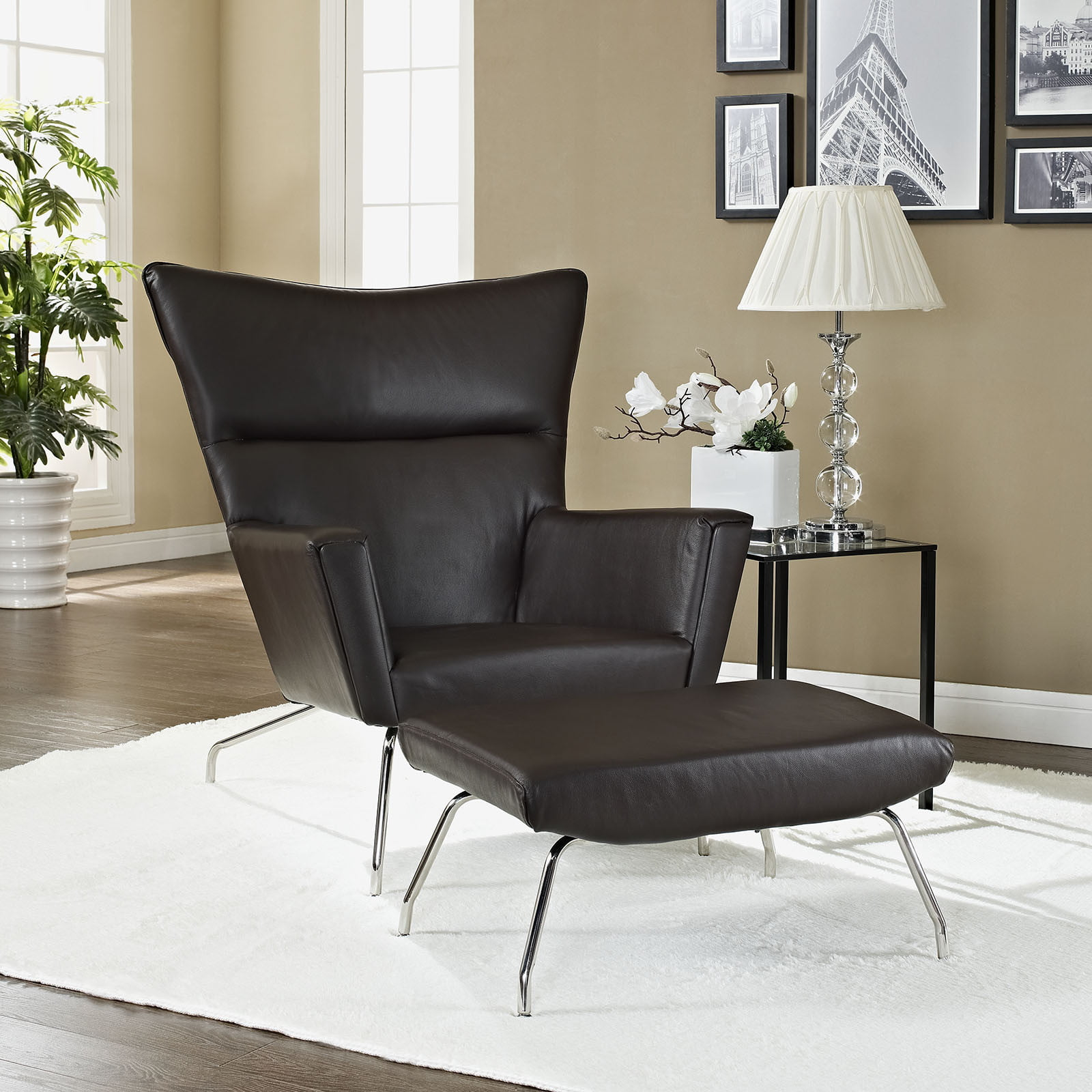 Hans wegner wing chair ottoman reproduction leather the furnishplus - Wegner wing chair replica ...