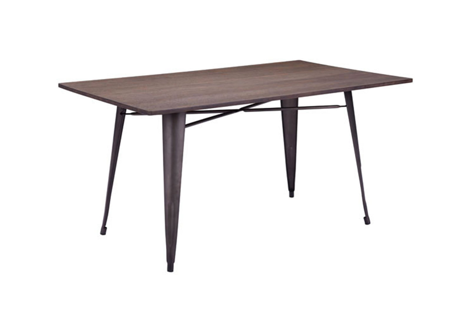 Titus Rectangular Dining Table Rustic Wood Furnishplus