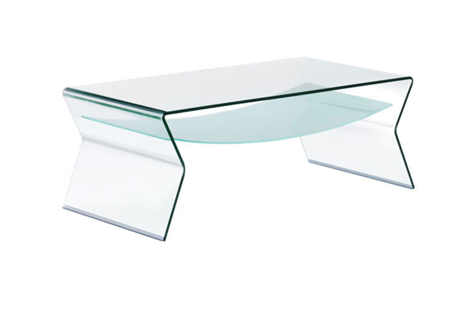 Yoga coffee table clear frosted1 furnishplus for Clear coffee table